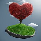 Heart tree on suspended rock by jordygraph