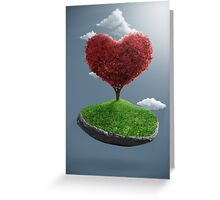 Heart tree on suspended rock Greeting Card