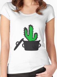 Eat Well saucepan cook restaurant desert cactus survive survival hungry Women's Fitted Scoop T-Shirt