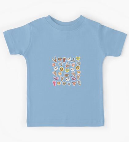 funny animal on blue background Kids Tee