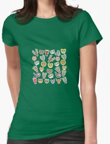 funny animal on blue background Womens Fitted T-Shirt