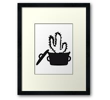 Eat Well saucepan cook restaurant desert cactus survive survival hungry Framed Print