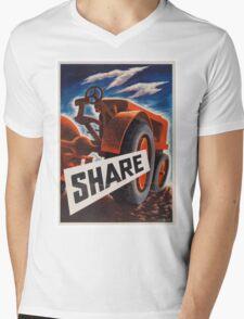 Share - Vintage WW2 Propaganda Poster  Mens V-Neck T-Shirt