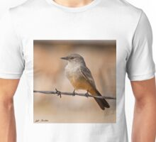 Say's Phoebe on a Barbed Wire Unisex T-Shirt