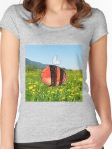 Orange Inky Bumble Bee Women's Fitted Scoop T-Shirt