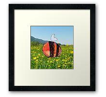Orange Inky Bumble Bee Framed Print