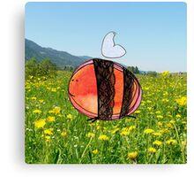 Orange Inky Bumble Bee Canvas Print