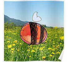 Orange Inky Bumble Bee Poster