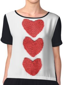 Red Love Hearts Knitted For Your Valentine Chiffon Top