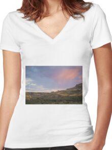 Dusky Wild Rose Sky Women's Fitted V-Neck T-Shirt