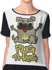 Cute Funny Pug Thug Dog Lovers Design Chiffon Top
