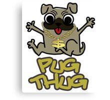Cute Funny Pug Thug Dog Lovers Design Canvas Print