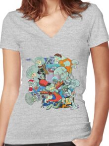 A Jumble of Squidwards Women's Fitted V-Neck T-Shirt
