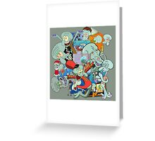 A Jumble of Squidwards Greeting Card