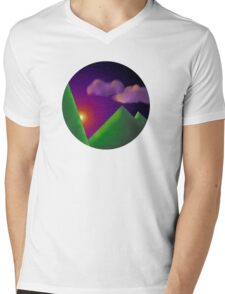 Sunset Circled Mens V-Neck T-Shirt
