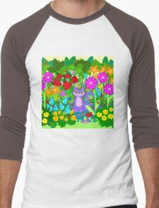 Cat in the Garden Butterflies Flowers Ladybugs Men's Baseball ¾ T-Shirt