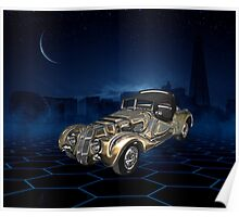 Vintage Retro Golden Blue Sparkling Car Poster