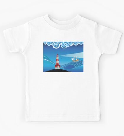Lighthouse and Boat in the Sea 5 Kids Tee