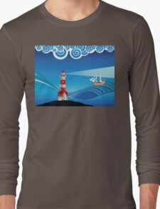 Lighthouse and Boat in the Sea 5 Long Sleeve T-Shirt