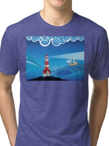 Lighthouse and Boat in the Sea 5 Tri-blend T-Shirt
