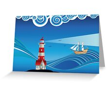 Lighthouse and Boat in the Sea 5 Greeting Card