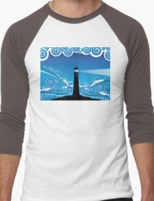 Lighthouse in the Sea 5 Men's Baseball ¾ T-Shirt