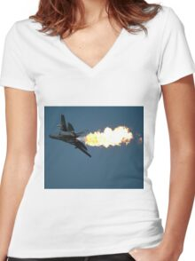 F111 A8-126 Dump N Burn,Amberley,Australia 2008  Women's Fitted V-Neck T-Shirt