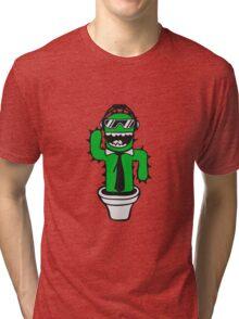 cool sunglasses suit tie music party dj club disco dancing cactus celebrate sweet cute flowerpot Tri-blend T-Shirt
