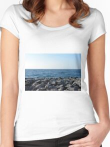The sea and blue sky, and rocks at the shore. Women's Fitted Scoop T-Shirt