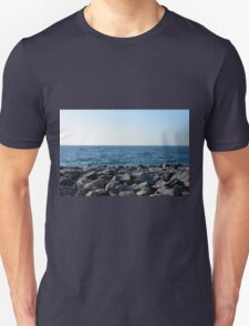 The sea and blue sky, and rocks at the shore. T-Shirt