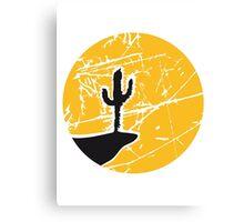 cool pattern sun night moon cliff mountainside werewolf cactus sunset full moon desert canyon cactus Canvas Print