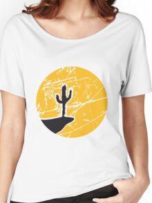 cool pattern sun night moon cliff mountainside werewolf cactus sunset full moon desert canyon cactus Women's Relaxed Fit T-Shirt