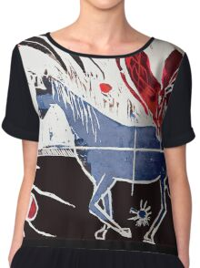 Horse and Spider Woodcut Chiffon Top