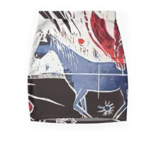 Horse and Spider Woodcut Mini Skirt