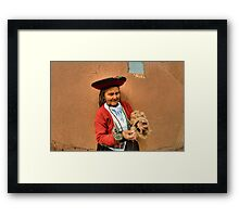 Peru, indigenous woman spinning wool with a hand spindle  Framed Print
