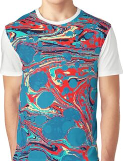 Psychedelic Blue Red Marbled Paper Graphic T-Shirt