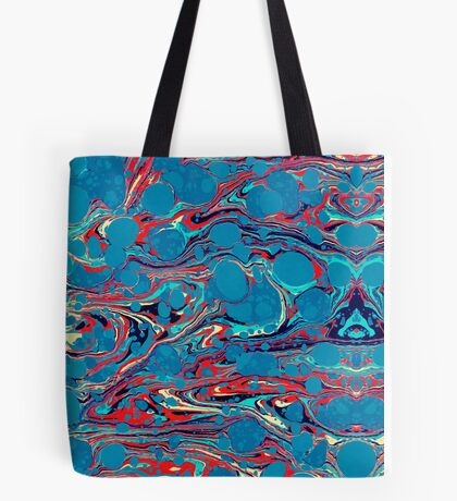 Psychedelic Blue Red Marbled Paper Tote Bag