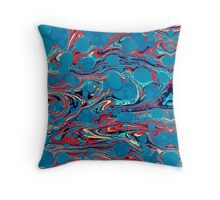Psychedelic Blue Red Marbled Paper Throw Pillow
