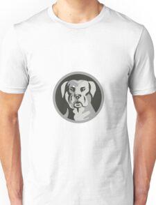 Rottweiler Guard Dog Head Circle Black and White Unisex T-Shirt