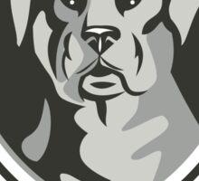 Rottweiler Head Laurel Leaves Crest Black and White Sticker