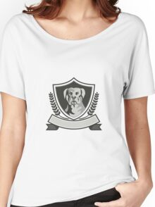 Rottweiler Head Laurel Leaves Crest Black and White Women's Relaxed Fit T-Shirt