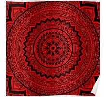 Red and black mandala Poster