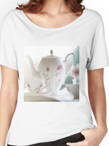 Hand painted china teapot, cup and saucer, with a flower. Women's Relaxed Fit T-Shirt
