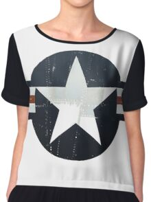 USAF - Worn and faded but still Proud in white Chiffon Top