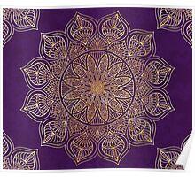 Purple vintage gold mandala Poster