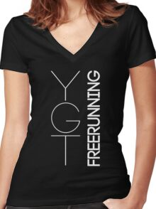 Fundamental YGTee (White Text) Women's Fitted V-Neck T-Shirt