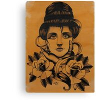 Girl with roses Canvas Print