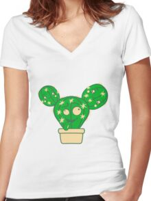 comic face funny crazy cartoon kids babys sweet cute design small beautiful flowerpot green cactus Women's Fitted V-Neck T-Shirt
