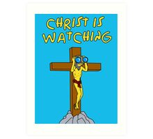 Simpsons Christ Is Watching You Art Print