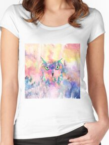 Watercolor eagle owl abstract paint Women's Fitted Scoop T-Shirt